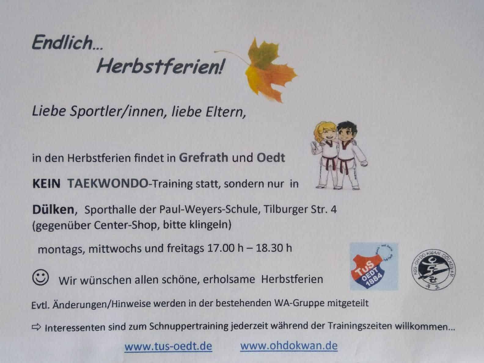 Verlegung des Taekwondo-Trainings in den Herbstferien nach Dülken